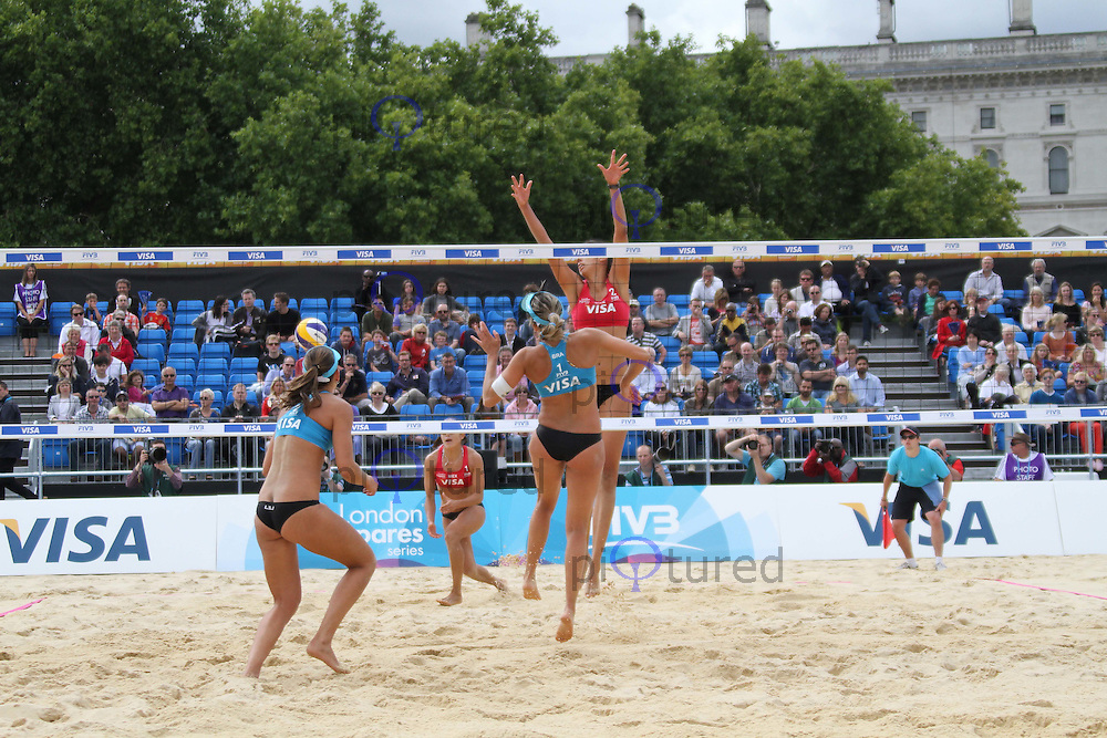 Candelas Bibiana & Mayra Garcia (Mexico); Liliane Maestrini & Angela Vieira (Brazil) Visa FIVB Beach Volleyball International - London 2012 test event - Horse Guards Parade, Horse Guards Parade, London, UK, 09 August 2011:  Contact: Rich@Piqtured.com +44(0)7941 079620 (Picture by Richard Goldschmidt)