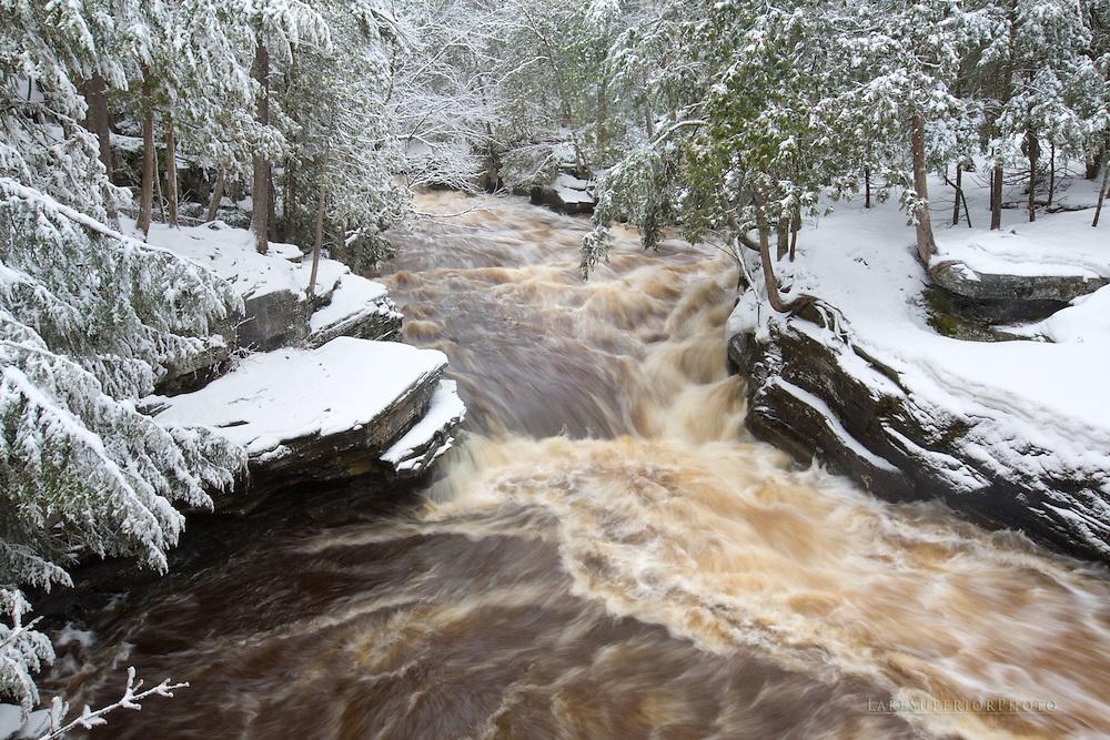 Winter, heavy, wet, snow, Sturgeon River, Upper Peninsula