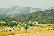 Bicycling on Highway 86, north of Bozeman, Montana, Bridger Mountains