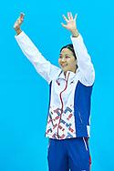 Ashgabat, Turkmenistan - 2017 September 24: Short Course Swimming competition during 2017 Ashgabat 5th Asian Indoor & Martial Arts Games at Aquatics Centre (AQC) at Ashgabat Olympic Complex on September 24, 2017 in Ashgabat, Turkmenistan.<br /> <br /> Photo by © Adam Nurkiewicz / Laurel Photo Services