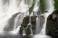Details of the the upper falls of the Iguazu Falls in a long exposure time, Argentina