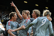 Steven Gerrard of Liverpool celebrates scoring during the Barclays Premier League match between Manchester United and Liverpool at Old Trafford on March 14, 2009 in Manchester, England.