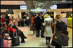 People wait at passport control at the Eurostar Terminal in Brussels-Midi/Zuid Station, Belgium, heading to London, April 11, 2013,<br /> Picture by Andrew Parsons / i-Images