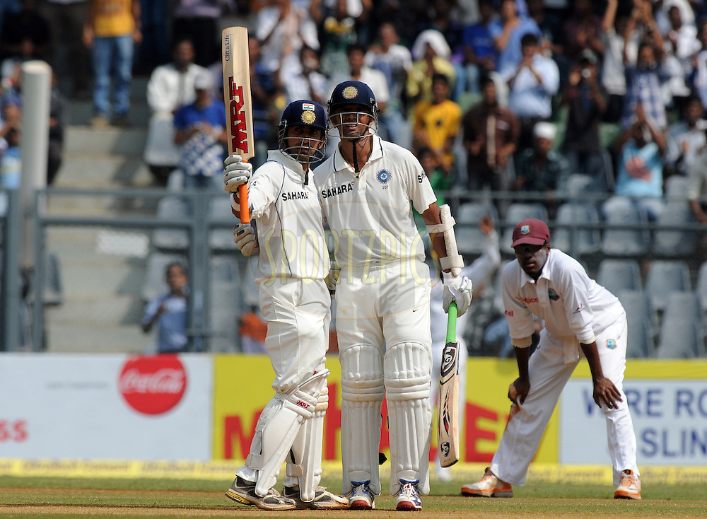 Gautam Gambhir of India celebrates after scoring a half century during the 3rd day of the 3rd test match between India and The West Indies held at Wankhede Stadium in Mumbai, India on the 24th November 2011..Photo by Pal Pillai/BCCI/SPORTZPICS.
