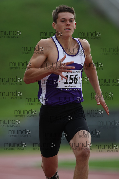 (Sherbrooke, Quebec---10 August 2008) Wesley Palmer competing in the octathlon 100m at the 2008 Canadian National Youth and Royal Canadian Legion Track and Field Championships in Sherbrooke, Quebec. The photograph is copyright Sean Burges/Mundo Sport Images, 2008. More information can be found at www.msievents.com.