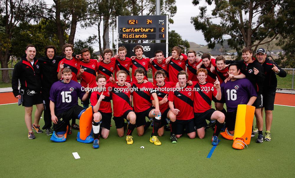 Canterbury celebrate after beating Midlands. Canterbury v Midlands, Final - National U18 Regional Hockey Tournament, Napier, New Zealand. Saturday, 12 July, 2014. Photo: John Cowpland / photosport.co.nz
