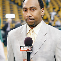 26 May 2012: ESPN NBA Insider Stephen A. Smith is seen prior to the Boston Celtics 85-75 victory over the Philadelphia Sixer, in Game 7 of the Eastern Conference semifinals playoff series, at the TD Banknorth Garden, Boston, Massachusetts, USA.