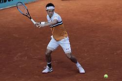 May 9, 2019 - Madrid, Madrid, Spain - Kei Nishikori during the Mutua Madrid Open Masters match on day 7 at Caja Magica in Madrid, Spain. May 09, 2019. (Credit Image: © A. Ware/NurPhoto via ZUMA Press)