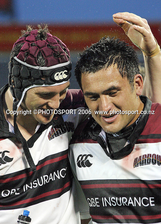 North Harbour captain Rua Tipoki celebrates with a teammate during the Air NZ Cup week 9 rugby match between Canterbury and North Harbour at Jade Stadium, Christchurch, New Zealand on Sunday 24 September, 2006. North Harbour won the match 21 - 17. Photo: Hagen Hopkins/PHOTOSPORT
