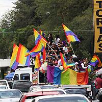 Toluca, México.- La comunidad Lésbico, Gay, Bisexual, Travesti, Transgénero, Transexual e Intersexual (LGBTTTI), realizó la 7ª marcha por la defensa de sus derechos, en la cual exigieron la tipificación de los crímenes de odio y el reconocimiento a las uniones entre personas del mismo sexo. Agencia MVT / Arturo Rosales Chávez. (DIGITAL)