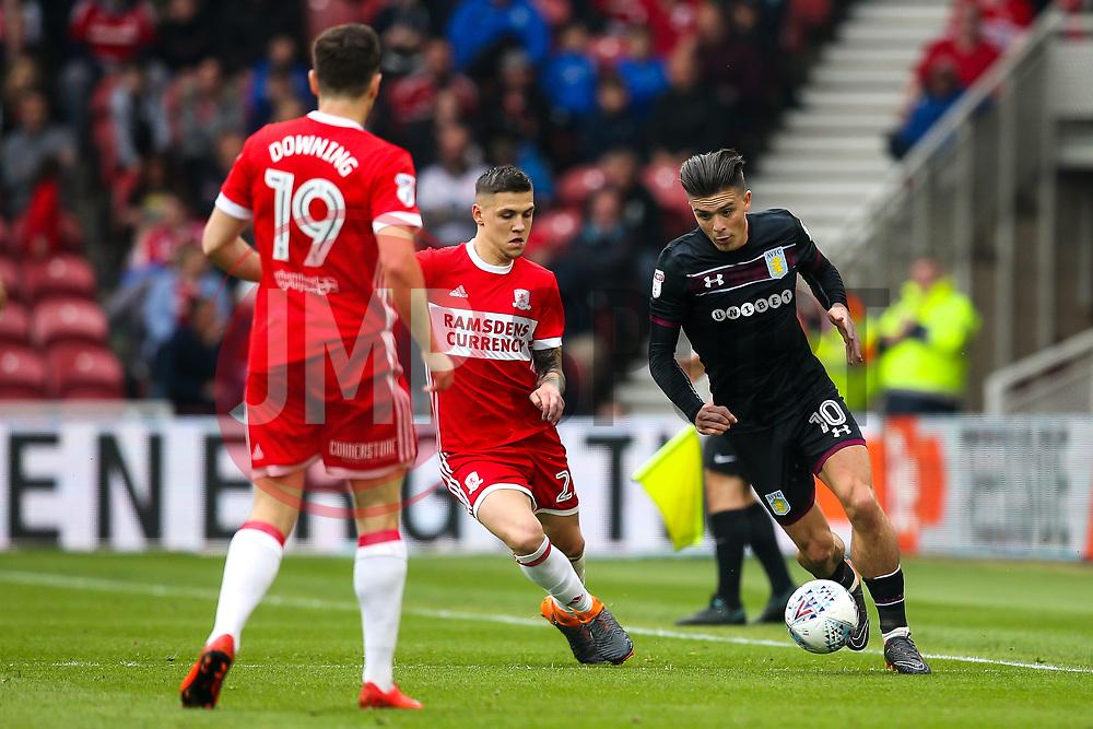 Jack Grealish of Aston Villa takes on Muhamed Besic of Middlesbrough - Mandatory by-line: Robbie Stephenson/JMP - 12/05/2018 - FOOTBALL - Riverside Stadium - Middlesbrough, England - Middlesbrough v Aston Villa - Sky Bet Championship