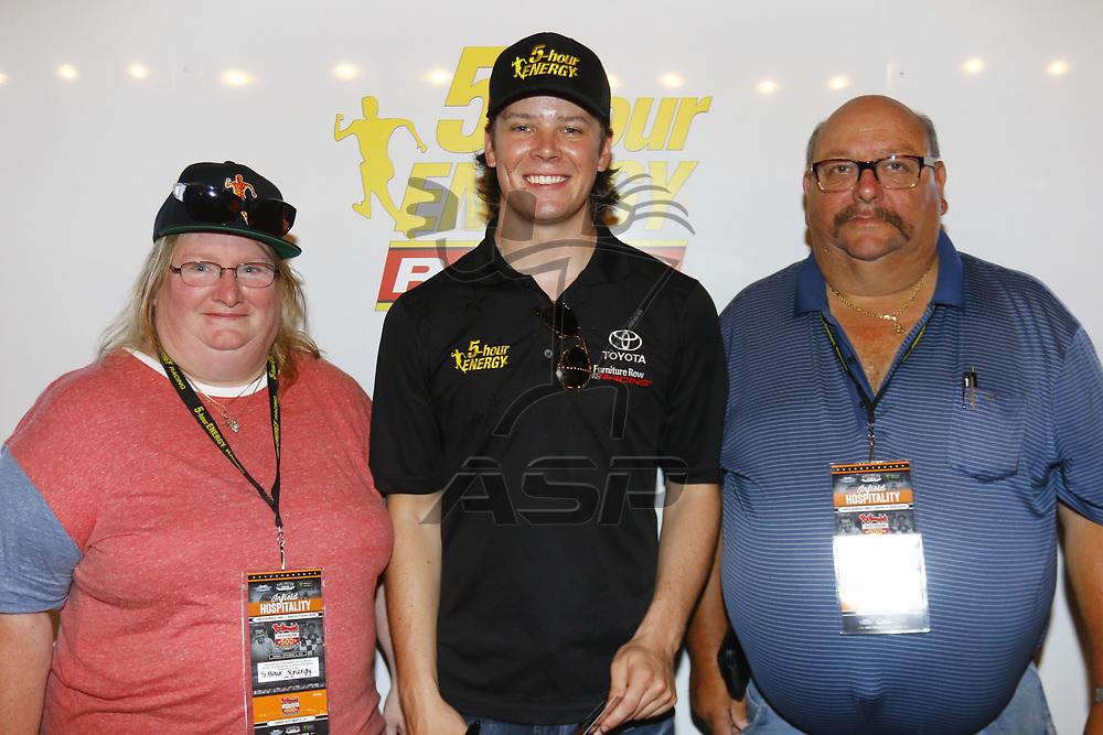 September 03, 2017 - Darlington, South Carolina, USA: Erik Jones (77) meets with guest before the Bojangles' Southern 500 at Darlington Raceway in Darlington, South Carolina.