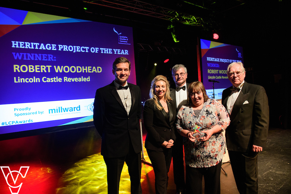 Lincolnshire Property and Construction Awards 2017.<br /> <br /> Heritage Project of the Year - Sponsored by Millward.<br /> <br /> Charlie Luxton and award sponsor Nicola Millward from Millward presents the award to Robert Woodhead for Lincoln Castle Revealed. <br /> <br /> Picture: Chris Vaughan Photography for Lincolnshire Chamber of Commerce<br /> Date: February 7, 2017