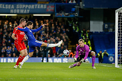 Eden Hazard of Chelsea cant quite stretch to get anything on a cross before Simon Mignolet of Liverpool can make the save - Photo mandatory by-line: Rogan Thomson/JMP - 07966 386802 - 27/01/2015 - SPORT - FOOTBALL - London, England - Stamford Bridge - Chelsea v Liverpool - Capital One Cup Semi-Final Second Leg.