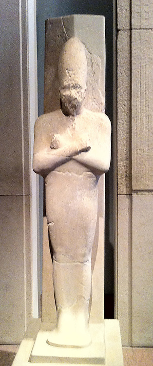 Statue in limestone depicting King Senwosret I, 12th Dynasty circa 1961-1917. Egyptian