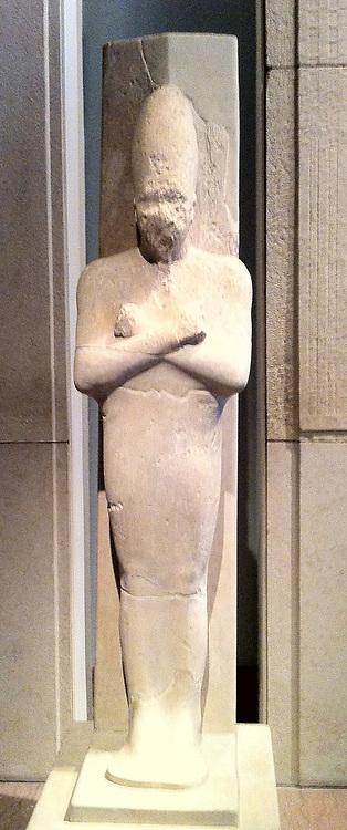 Statue in limestone depicting King Senwosret I, 12th Dynasty circa 1961-1917. Egyptian