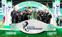 24/05/15 SCOTTISH PREMIERSHIP<br /> CELTIC v INVERNESS CT<br /> CELTIC PARK - GLASGOW<br /> The Celtic backroom staff celebrate with the Scottish Premiership trophy and Scottish League Cup