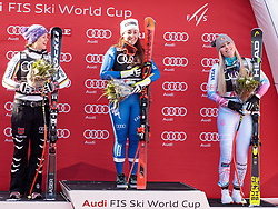 15.03.2018, Aare, SWE, FIS Weltcup Ski Alpin, Finale, Aare, SuperG, Damen, Siegerehrung, im Bild v.l. Viktoria Rebensburg (GER, 2. Platz, Tageswertung SuperG), Sofia Goggia (ITA, 1. Platz, Tageswertung SuperG) singt die Italienische Hymne, Lindsey Vonn (USA, 3. Platz, Tageswertung SuperG) // f.l. today Super G second placed Viktoria Rebensburg of Germany today Super G race winner Sofia Goggia of Italy today Super G race winner Sofia Goggia of Italy sing along with the Italian anthem today Super G third placed Lindsey Vonn of the USA during the winner Ceremony for the ladie's SuperG of FIS Ski Alpine World Cup finals in Aare, Sweden on 2018/03/15. EXPA Pictures © 2018, PhotoCredit: EXPA/ Johann Groder