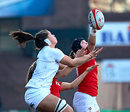 Bethan Lewis of Wales vies for the ball Sarah Beckett of England<br /> <br /> Photographer Simon King/Replay Images<br /> <br /> Six Nations Round 3 - Wales Women v England Women - Sunday 24th February 2019 - Cardiff Arms Park - Cardiff<br /> <br /> World Copyright © Replay Images . All rights reserved. info@replayimages.co.uk - http://replayimages.co.uk