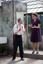 Pictured:  Bard in the Botanics . The latest production features a version of Macbeth set in 1950s, directed by Gordon Barr. Kirk Bage (Macbeth) and Nicole Cooper (Lady Macbeth) have blood on their hands as they perform the murder of Duncan scene on the main stage Karen Gordon  (c) Edinburgh Elite media Date<br />