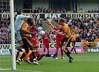 Photo: Kevin Poolman.<br />Wolverhampton Wanderers v Colchester United. Coca Cola Championship. 14/10/2006. Wolves player Jody Craddock misses from close range.