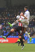 Cameron Burgess and Michael Ihiekwe during the Vanarama National League match between Tranmere Rovers and Cheltenham Town at Prenton Park, Birkenhead, England on 20 February 2016. Photo by Antony Thompson.