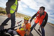 Florian Kowalik na de ochtendrun op de derde dag van de races. In Battle Mountain (Nevada) wordt ieder jaar de World Human Powered Speed Challenge gehouden. Tijdens deze wedstrijd wordt geprobeerd zo hard mogelijk te fietsen op pure menskracht. Het huidige record staat sinds 2015 op naam van de Canadees Todd Reichert die 139,45 km/h reed. De deelnemers bestaan zowel uit teams van universiteiten als uit hobbyisten. Met de gestroomlijnde fietsen willen ze laten zien wat mogelijk is met menskracht. De speciale ligfietsen kunnen gezien worden als de Formule 1 van het fietsen. De kennis die wordt opgedaan wordt ook gebruikt om duurzaam vervoer verder te ontwikkelen.<br /> <br /> In Battle Mountain (Nevada) each year the World Human Powered Speed Challenge is held. During this race they try to ride on pure manpower as hard as possible. Since 2015 the Canadian Todd Reichert is record holder with a speed of 136,45 km/h. The participants consist of both teams from universities and from hobbyists. With the sleek bikes they want to show what is possible with human power. The special recumbent bicycles can be seen as the Formula 1 of the bicycle. The knowledge gained is also used to develop sustainable transport.