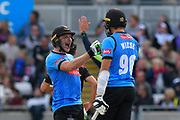 Luke Wright of Sussex and David Wiese of Sussex having fun in the middle during the Vitality T20 Finals Day Semi Final 2018 match between Worcestershire Rapids and Lancashire Lightning at Edgbaston, Birmingham, United Kingdom on 15 September 2018.