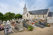 Church and graveyard in Liesville-sur-Douve in Normandy, France