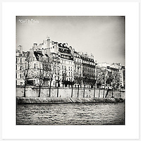 La Seine, Paris, France - Monochrome version. Inkjet pigment print on Canson Infinity Rag Photographique 310gsm 100% cotton museum grade Fine Art and photo paper.<br />