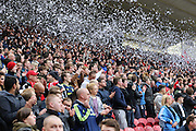 Middlesbrough fans during the Sky Bet Championship match between Middlesbrough and Brighton and Hove Albion at the Riverside Stadium, Middlesbrough, England on 2 May 2015.