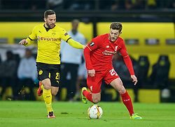 DORTMUND, GERMANY - Thursday, April 7, 2016: Liverpool's Adam Lallana in action against Borussia Dortmund's Gonzalo Castro during the UEFA Europa League Quarter-Final 1st Leg match at Westfalenstadion. (Pic by David Rawcliffe/Propaganda)