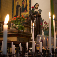 Candles for those wishing to say a prayer at the St. Elisabeth church in Mons, BE.
