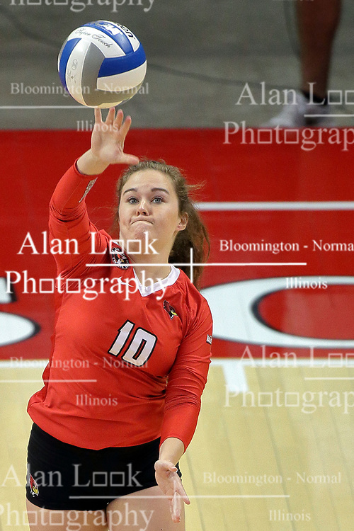 23 September 2017:  Megan Beutke during a college women's volleyball match between the Salukis of Southern Illinois and the Illinois State Redbirds at Redbird Arena in Normal IL (Photo by Alan Look)
