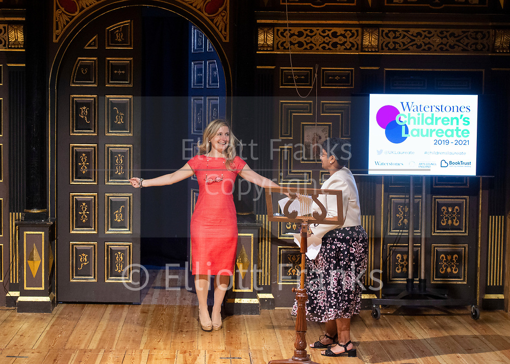 Announcement of the new Waterstones Children's Laureate Cressida Cowell<br /> at Sam Wanamaker Playhouse, Shakespeare's Globe, London, Great Britain <br /> 9th July 2019<br /> <br /> Cressida Cowell<br /> <br /> The new Laureate is presented with the iconic silver medal by outgoing Laureate Lauren Child, followed by a short speech by Cressida Cowell. <br /> <br /> Photograph by Elliott Franks