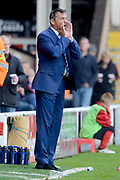 Southend United manager Phil Brown shouts instructions from the sideline 0-1 during the EFL Sky Bet League 1 match between Walsall and Southend United at the Banks's Stadium, Walsall, England on 28 October 2017. Photo by Alan Franklin.