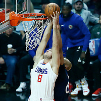 06 December 2017: LA Clippers forward Danilo Gallinari (8) goes for the dunk during the Minnesota Timberwolves 113-107 victory over the LA Clippers, at the Staples Center, Los Angeles, California, USA.