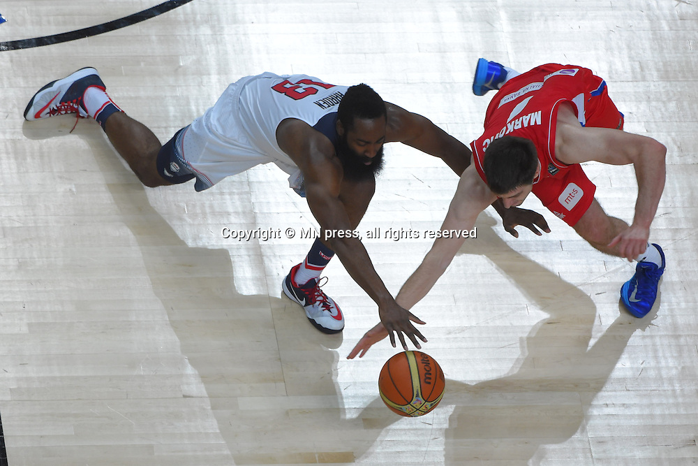 JAMES HARDEN of United states of America basketball team in action during Final FIBA World cup match against STEFAN MARKOVIC of Serbia, Madrid, Spain Photo: MN PRESS PHOTO<br /> Basketball, Serbia, United states of America, Final, FIBA World cup Spain 2014