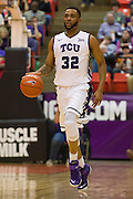 FORT WORTH, TX - JANUARY 19: Trey Zeigler #32 of the TCU Horned Frogs brings the ball up court against the Texas Longhorns on January 19, 2015 at Wilkerson-Greines AC in Fort Worth, Texas.  (Photo by Cooper Neill/Getty Images) *** Local Caption *** Trey Zeigler