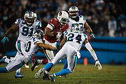 January 24, 2016: Carolina Panthers vs Arizona Cardinals. Josh Norman tackles David Johnson