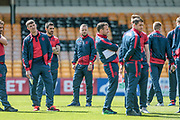 Jay Spearing DM (Bolton Wanderers) and the Bolton Wanderers players arrive at the ground and inspect the pitch before the EFL Sky Bet League 1 match between Port Vale and Bolton Wanderers at Vale Park, Burslem, England on 22 April 2017. Photo by Mark P Doherty.