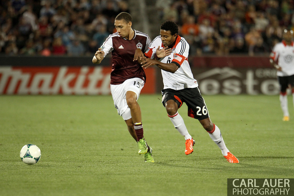 July 7th, 2013 - D.C. United forward Lionard Pajoy (26) battles with Colorado Rapids defender Chris Klute (15) for control of the ball during second half action of the Major League Soccer match between D.C. United and the Colorado Rapids at Dick's Sporting Goods Park in Commerce City, CO