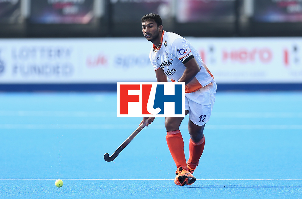 LONDON, ENGLAND - JUNE 16:  Raghunath Vokkaliga of India during the FIH Mens Hero Hockey Champions Trophy match between Australia and India at Queen Elizabeth Olympic Park on June 16, 2016 in London, England.  (Photo by Alex Morton/Getty Images)
