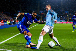 Danny Simpson of Leicester City takes on Oleksandr Zinchenko of Manchester City - Mandatory by-line: Robbie Stephenson/JMP - 18/12/2018 - FOOTBALL - King Power Stadium - Leicester, England - Leicester City v Manchester City - Carabao Cup Quarter Finals