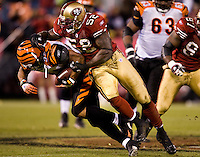 15 December 2007: Linebacker Patrick Willis of the San Francisco 49ers tackles Kenny Watson of the Cincinnati Bengals during the second half of the 49ers 20-13 victory over the Bengals at Monster Park in San Francisco.