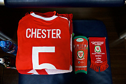 TBILSI, GEORGIA - Friday, October 6, 2017: The shirt of Wales' James Chester laid out in the dressing room before the 2018 FIFA World Cup Qualifying Group D match between Georgia and Wales at the Boris Paichadze Dinamo Arena. (Pic by David Rawcliffe/Propaganda)