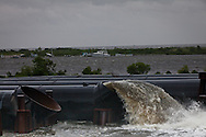New Orleans, Louisiana, August 28th, 2012,  Water pumped from the  London Avenue Canal at the pumping station in Lakeveiw. The levy at the London Canal failed and flooded the area when Katrina Hit in 2005.