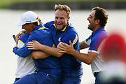 Alex Noren (Swe), Thorbjorn Olesen (Den), Tyrelle Hatton (Eng) and Francesco Molinari (Ita) during the sunday singles session of Ryder Cup 2018, at Golf National in Saint-Quentin-en-Yvelines, France, September 30, 2018 - Photo Philippe Millereau / KMSP / ProSportsImages / DPPI