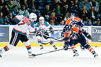 KELOWNA, CANADA, JANUARY 25: Damon Severson #7 of the Kelowna Rockets takes a shot while blocked by Brendan Ranford #19 of the Kamloops Blazers as the Kamloops Blazers visit the Kelowna Rockets on January 25, 2012 at Prospera Place in Kelowna, British Columbia, Canada (Photo by Marissa Baecker/Getty Images) *** Local Caption ***