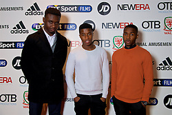 LONDON, ENGLAND - Monday, February 27, 2017: Adidas Academy players  Daniel Adjei, Rachid Gomes and Daniel Prince Haastrup attend the premier of Don't Take Me Home - the incredible true story of Wales' Euro 2016 at the Vue Cinema in Leicester Square. (Pic by David Rawcliffe/Propaganda)